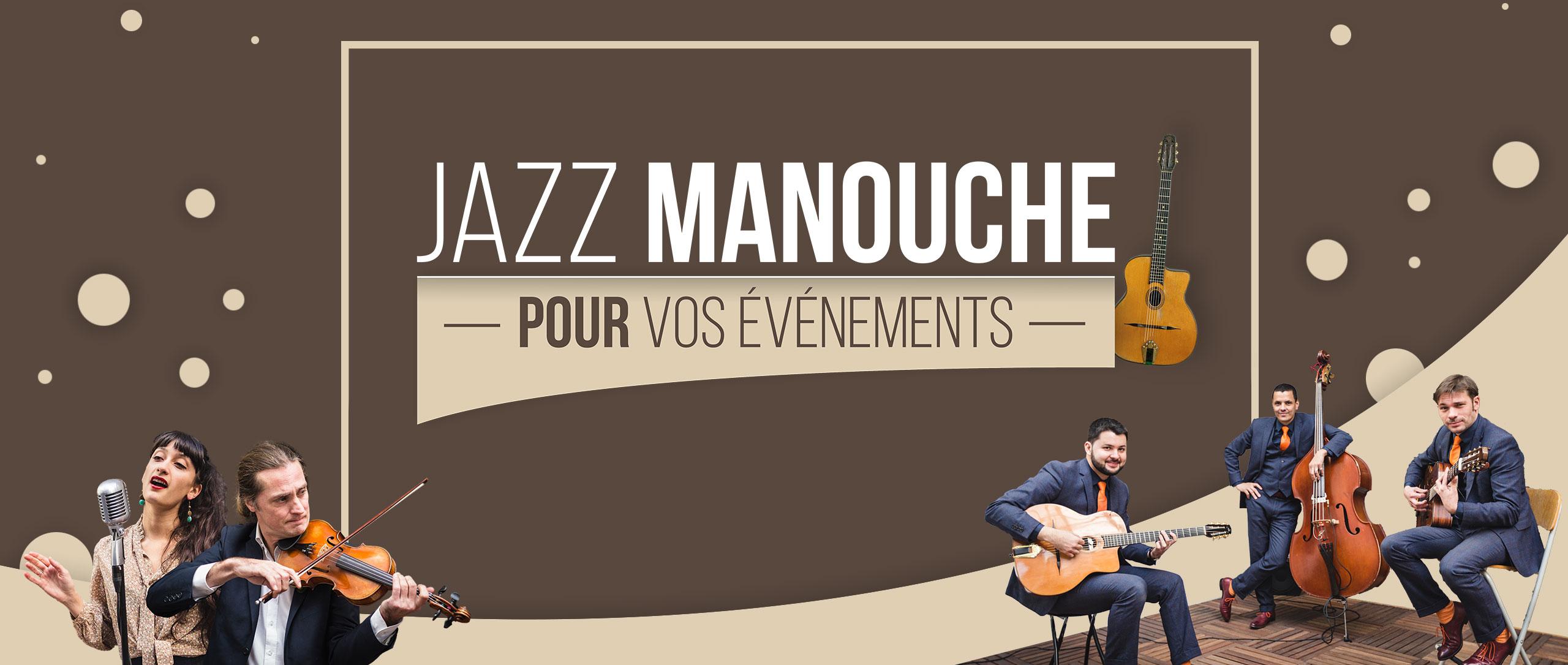 Bannière jazz manouche pour mariages et événements